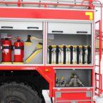 Увеличенные отсеки кузовной надстройки позволяют рационально расположить пожарно-техническое вооружение (ПТВ)
